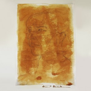 Unfinished: Pencil out line on paper stained with coffee and pigment